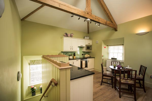 Self catering kitchen, clean and stylishly decorated.