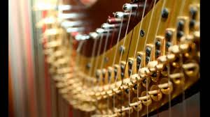 Up close shot of a harp.