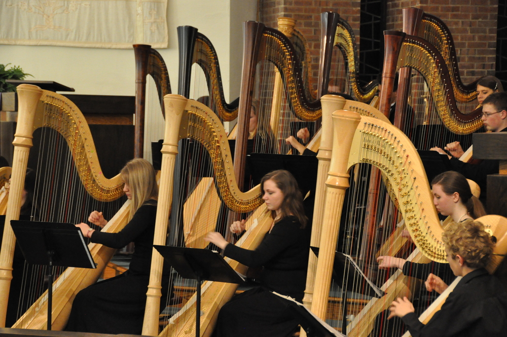 Harpists at Cardigan Castle.