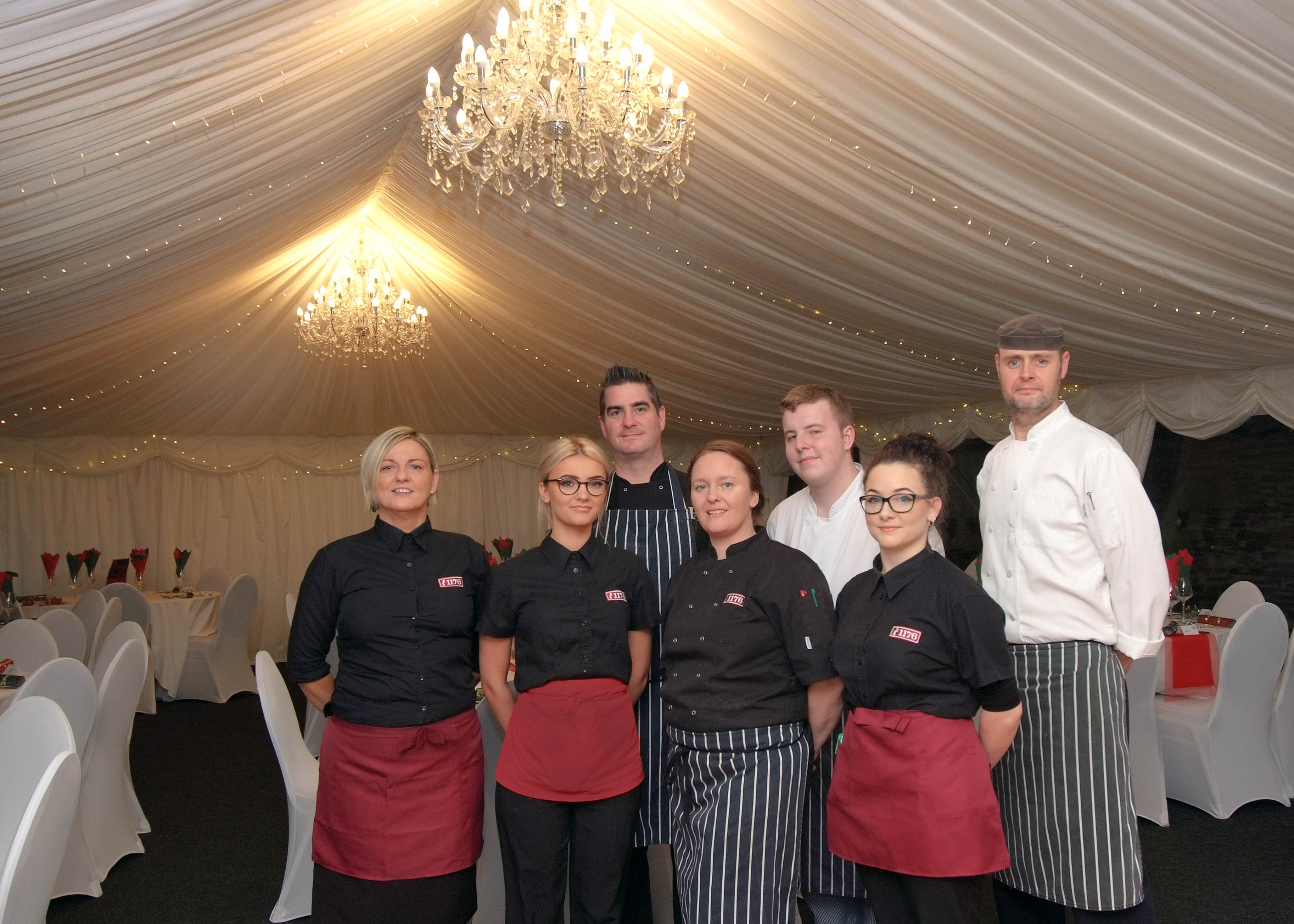 Some of our catering staff at an event at Cardigan Castle