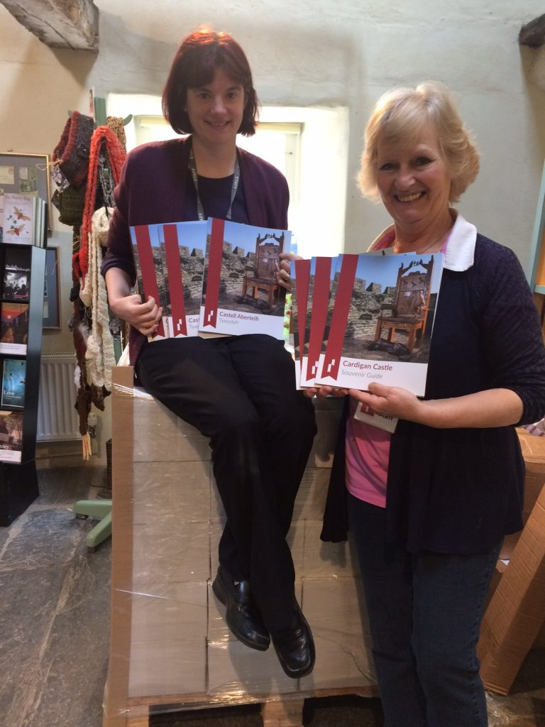 Inside the shop, with the new Cardigan Castle Books being shown.