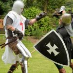 Knights fighting at Cardigan Castle.